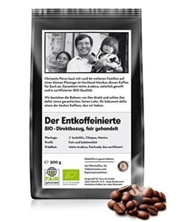 BIO & FAIR Der entkoffeinierte Kaffee 500g Bohne -