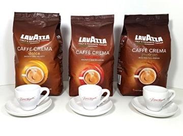 Lavazza Caffe Kaffee Bohnen dolce, classico & gustoso + 3x Ramazzotti Espresso Gläser mit Untertasse -